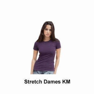 Skinnifit T-shirt Dames Stretch Korte Mouw
