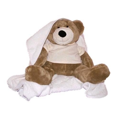 Geboorte beer met badcape en slab meisje