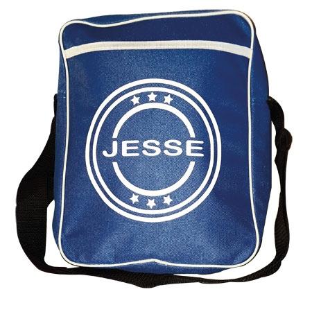 schoudertas blauw met naam en afbeelding 1 kleur bedrukt