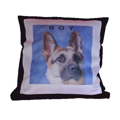 Sierkussen hond bedrukt met  afbeelding en tekst