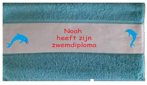 Handdoek bedrukt aqua